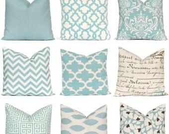 Sale Decorative Pillow, Throw Pillow, Pillows, Toss Pillow, Accent Pillow, Village Blue and Natural, 16 x 16 Inches - Blue Throw Pillow Cove