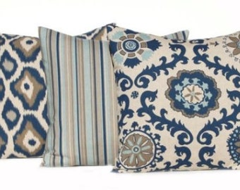three indigo blue pillow covers 18 x 18 throw pillow covers sofa pillows