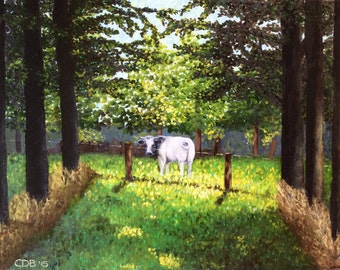 Belgian Cow - Original Oil Painting