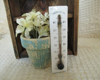 Vintage French Enamel Thermometer - White Enamelware - French Country Decor - Shabby Cottage Decor
