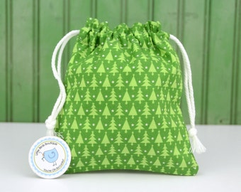 Drawstring Fabric Bag, Pouch, Tote, Gift Bag for Toys, Crafting, Knitting, Project, Storage, Travel- Holiday, Christmas, Tree, Evergreen