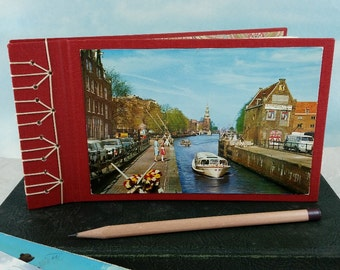 Amsterdam Holland Travel Journal Photo Album with Vintage Postcard on Red Stitched Cover