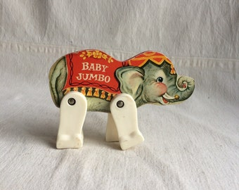 Vintage fisher price elephant toy  wooden elephant