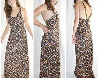 SALE Vintage 1970s Black With Bright Geometric Floral Print Halter Maxi Dress Formal Sz M