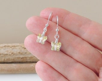 Crystal Butterfly Earrings, Sparkly Glass Butterfly Drop Earrings, Fish Hook Ear Wires, Butterfly Jewellery, UK, 476
