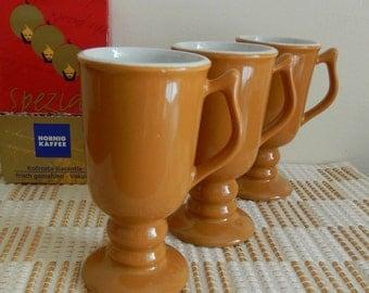 3 Vintage Hall Pottery Irish Coffee Pedestal Mugs, Light Brown Footed Mugs