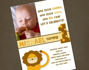 SALE Little Lion Birthday Invitation You Print