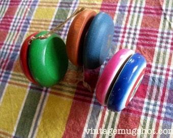 3 Vintage  Yo Yo's Lot  Two Duncan Wooden  Ones and One Made In Japan Toy Yo Yo