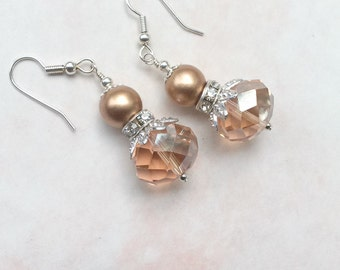 Champagne Crystal Dangle Earrings ~ Czech Glass Crystal ~ Drop Earrings ~ Bridesmaid Gift ~ Gifts for Her ~
