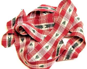 1 yard Homespun Cotton Fabric Ribbon Christmas Pine Tree