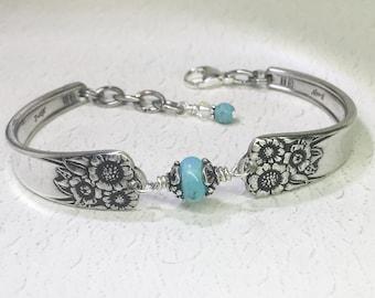 Sunflower Spoon Bracelet, Genuine Turquoise, Silverware Jewelry, Turquoise Jewelry, 'April' 1950