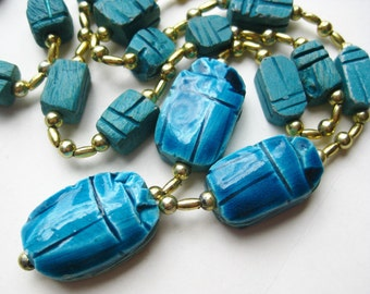 Vintage Egyptian Turquoise Faience Scarab Beetle Long Beaded Necklace