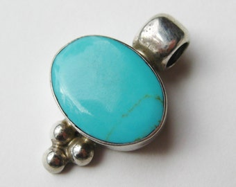 Vintage Mexican Sterling Silver Turquoise Necklace Pendant
