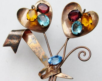 Vintage 40s Sterling Silver Gold Vermeil Jeweled Floral Bouquet Brooch Pin