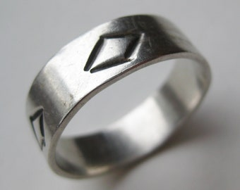 Vintage Mens Mexican Taxco Sterling Silver Band Ring size 13 1/2