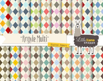 Argyle Digital Paper Pack, Argyle Scrapbook Paper, Diamond Scrapbook Paper, Scottish Pattern, Argyll Designs, Commercial Use
