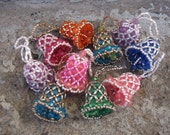 vintage beaded bells christmas tree ornaments set of 10 multi colored victorian style grannie chic