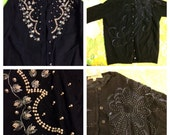 Lot of 8 sweaters beaded cashmere  lambswool cardigans! Medium large xl 38 42 44
