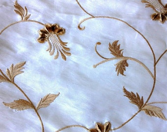 Gold Embroidered Flowers on Silk or Silk Blend Fabric 2 3/4 Yards X0458