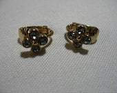 Reserved for VL, Vintage AVON Tiny Gold Tone Ear Clips with Rhinestones
