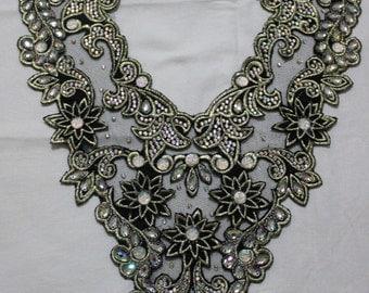 Black 3D lace aplique for dress