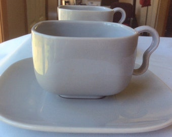 Two Franciscan Tiempo Gray Cup and Saucer - Square Shape - Midcentury