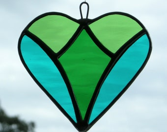 Abstract Stained Glass (Love Heart) in teal green, medium green and light green rippling water glass