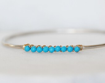 Turquoise Bangle Bracelet in Sterling Silver and 14k Yellow Gold - Eco-Friendly Recycled