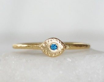 Blue Diamond Evil Eye Ring - Choose 14k OR 18k Gold - Eco-Friendly Recycled Gold