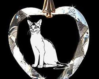 Abyssinian Cat Jewelry Custom Crystal Necklace Pendant Jewelry, Suncatcher made with any Animal or Name YOU Want, Gift, kitty, kitten