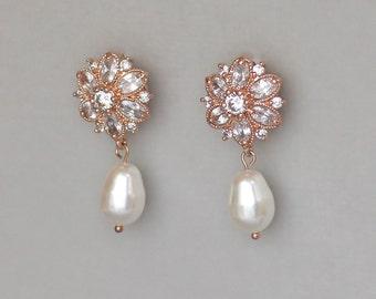 SALE Rose Gold Bridal Earrings, Crystal Wedding Earrings, Rose Gold Bridal Jewelry, JENNA RG