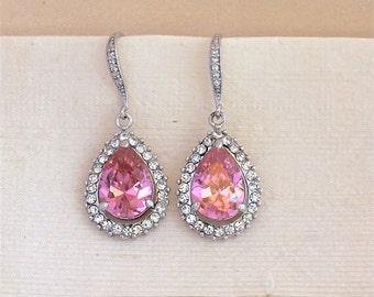 Pink Crystal Earrings, Custom Color Earrings, Bridal Teardrop Earrings, Pink Crystal Jewelry, Bridal Jewelry,  PINK