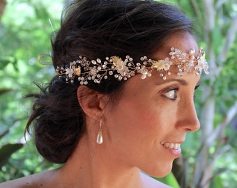Gold Hair Vine, Ivory Bridal Hair Vine, Pearl and Crystal Hairpiece, Gold Wedding Hairvine, WISTERIA