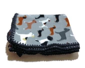 Dog Blanket, Grey Fleece Throw, Dog Bedding, Dachshund Throw, Dog Travel Blanket, Grey Crochet Edge, Dog, Boxer Dog Gifts, Fleece Throw,