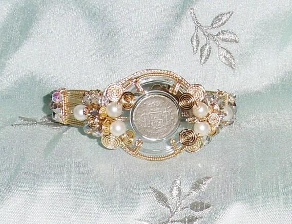 "1783 El Cazador Shipwreck half Reale Coin, 14kt yellow gold Bangle Bracelet 7 3/4"""