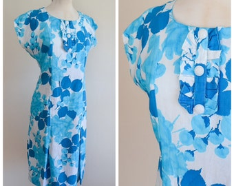 1950s 60s Blue & white printed cotton day dress / 50s fitted summer dress - S