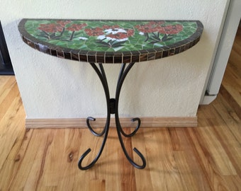 Stained Glass Mosaic Half Round Table with Iron Legs