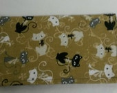 Retro Cats Ladies Checkbook Cover Coupon Holder Clutch Purse Billfold Ready-Made
