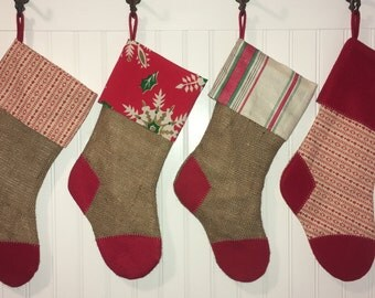 Burlap Family Christmas Stocking Set of 4 Red and Green Primitive Farmhouse Rustic Country Christmas