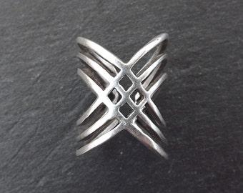 Trio Capraz Silver Ethnic Tribal Boho Geometric Statement Ring - Authentic Turkish Style