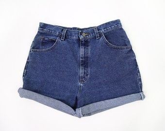 VINTAGE Lee Jeans 1990s Denim Shorts Blue High Waist