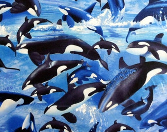 Ocean Whales Material Orca Fabric , Cotton Material , Michael Searle Designer Timeless Treasures