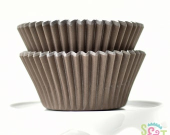 Solid Brown BakeBright GREASEPROOF Baking Cups Cupcake Liners | ~30 count