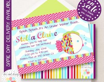 Rainbow Fish Invitation, Rainbow Fish Birthday Invitation, Rainbow Fish Party, Girl First Birthday, Girl Birthday, Rainbow Fish Invite