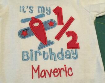 1/2 Birthday Airplane Bodysuit, Airplane Half Birthday, Cute Half Birthday Shirt, Personalized Half Birthday, Airplane Baby, Pilot's Baby