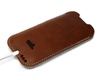 iPhone 7 Plus / 6s Plus / 6 Plus case cover - KINGSTON -  100 % wool felt, pure vegetable tanned leather sleeve