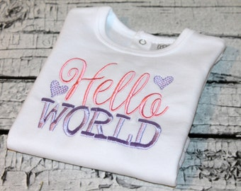 "Newborn Girl's ""Hello World"" Outfit, Girl's Going Home Outfit, Newborn Girl Hospital Outfit"