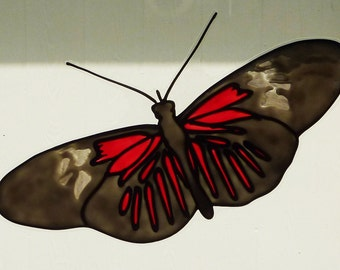 Postman butterfly window cling, sun catcher, faux stained glass