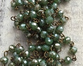 sale American Artisan assembled Handmade Beaded Chain opaque IVY green luster roundel 6x4 mm Faceted Crystal Beads