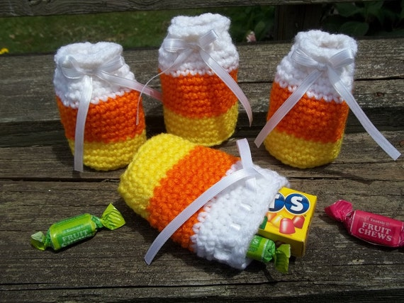 Crocheted Mini Candy Corn Treat Bags